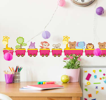 This animal wall sticker is the perfect design to brighten up your child´s  bedroom, nursery or playroom. Featuring a cartoon train full of your child's favourite animals!
