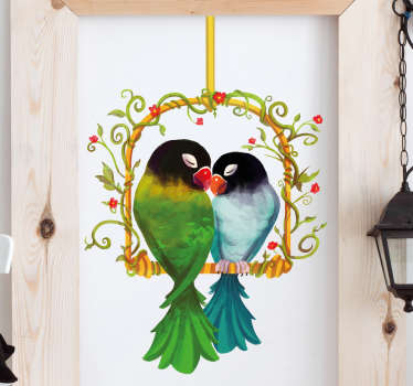 Check out our beautiful animal wall sticker that has two parrots in love on it. Bubble and wrinkle-free and easy to apply!