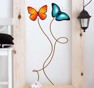 klistermærke flyvende sommerfugle