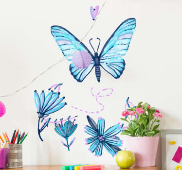 Give your home a bright and summery feel with this artistic and beautiful decorative wall sticker! Featuring a butterfly and some flowers