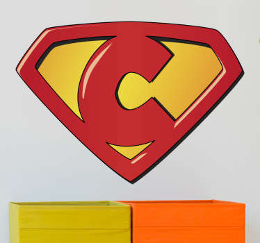 Superhero stickers for your kids with a representation of a shield based on the C letter. Children's vinyls ideal to decorate your kids' room.