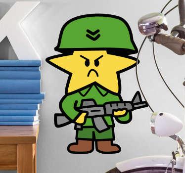 Sticker avec une illustration d'une étoile habillée en militaire et tenant une mitraillette.