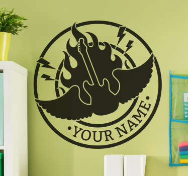 Customizable rock sticker that shows the name of your group with forceful typography and the silhouette of a flaming winged electric guitar.