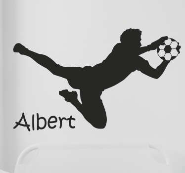 If you're looking for a fun ways to decorate your bare walls, look no further than this customisable football wall sticker! Featuring the stylish silhouette if a goalkeeper diving through the air to catch the ball.