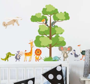 Djungel dyr veggen klistremerke