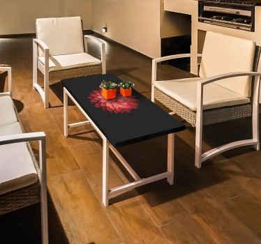 Sticker Ikea table fleur rouge