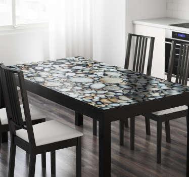 Vinilo Ikea mesas textura guijarros