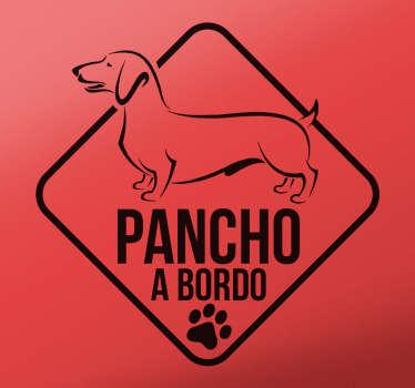 Decore o seu veículo com este autocolante para carro com a ilustração da imagem do cão e o texto '' (nome do cão) a bordo''.