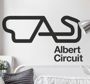 Este autocolante decorativo ilustra a famosa pista de carros, Albert Circuit situada na Austrália, ideal para os fãs dos desportos motorizados.