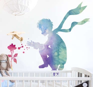 Renkli küçük prens ve gül çıkartması