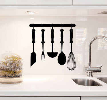 Kitchen Wall Stickers - Kitchen utensils hanging rack design. Ideal for adding a touch of style to your kitchen. This classic design is available in a wide range of colours and sizes and can be placed on any flat surface to provide the perfect atmosphere for cooking and eating food.