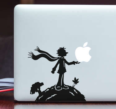 Laptop sticker man op aarde