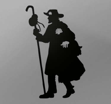 A decorative home wall decal design of a pilgrim man. This design is customisable in different colours and size options.