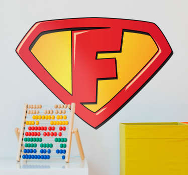 "Super man ""f"" child sticker. Help your child be a superhero! Easily applicable on walls, doors and other surfaces.  Available in many sizes!"