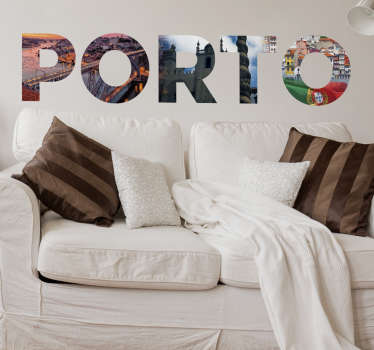 Decorative city wall sticker design of Porto city in Portugal created in a text format. The product is available in any required size.