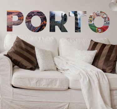 Vinilo decorativo fotomural texto Porto