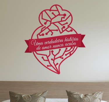 Autocolante Coração de Viana História de Amor