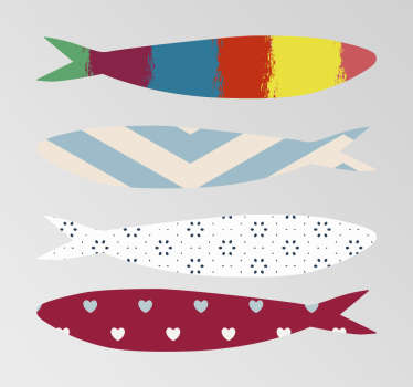 Check out our gorgeous animal wall decals that have colorful sardines on them. You can customize the size to fit your walls perfectly!