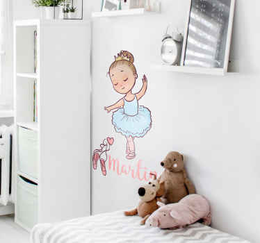 Personalised wall sticker for decorating any child's bedroom or dance studio. Lovely design of dancing little girl with your daughter's name written in an elegant cursive font to add a fabulous touch to their room's decor.