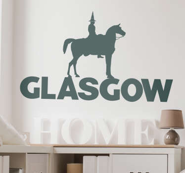 This Glasgow wall sticker is a Duke of Wellington decal, the famous statue in Royal Exchange Square, Glasgow, Scotland. Personalised stickers.