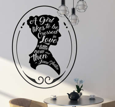 Jane Austen quote wall decal