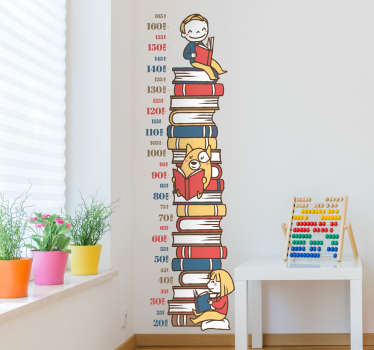 Kids bedroom height chart stickers - Stack of Books wall sticker where you can measure the growth of your young ones!