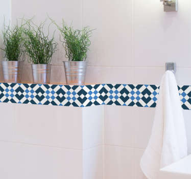 Geometric tile border sticker for your kitchen or bathroom. Add a touch of style to the walls of your home with this gorgeous Mediterranean design made up blue and white tones to really bring the decor together.