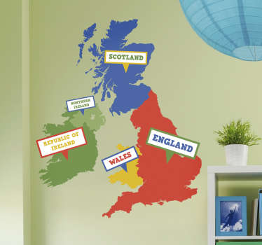 A UK and Ireland wall sticker includes the map of United Kingdom and the Republic of Ireland for your home. Choose your size.