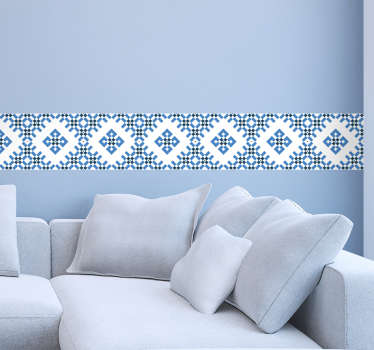 Blue and White Geometric Tile Sticker