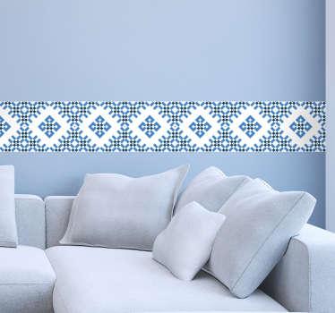 Blå och vit geometrisk kakel klistermärke