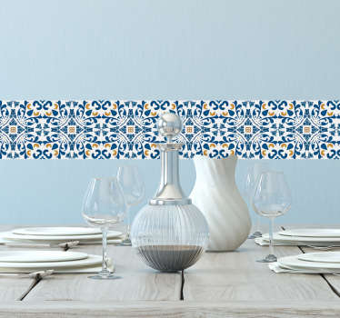 Tile Sticker border for kitchens or bathrooms. High quality vinyl design showing typical Portuguese patterns with a blue matte finish.