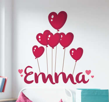 Personalised kids wall sticker showing the name of your choice floating below a bunch of red heart shaped balloons. Decorate your child's bedroom or nursery in a way that feels personal to them with this beautiful hearts wall sticker.