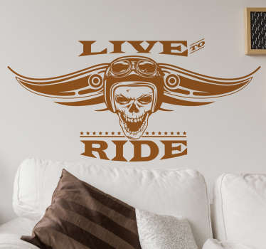 "Check out our awesome motor wall decal that has a text that says ""live to ride"". You can get it in over 45 colors and you can customize the size."