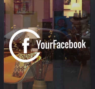 Monochrome window sticker to show your customers that you're on social media! Use this shop front sticker for your business to advertise the Facebook page of your store.