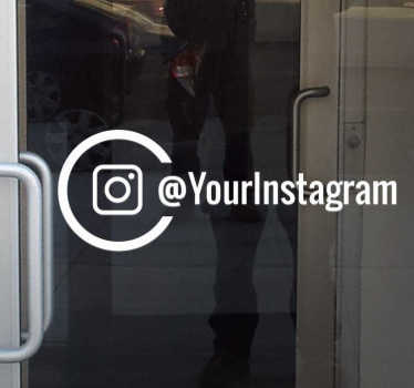 Personalised Instagram window sticker. Great and stylish Instagram window sticker for the shop window with the Instagram logo and your account name.
