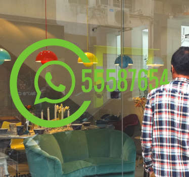 Whatsapp window sticker to show or advertise to your customers and guests that you or your business can be found on Whatsapp Personalise this shop window sticker with any number you want, any size and any colour to make it more appealing to your business