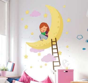 Beautiful Night Sky wall illustration sticker. One of our many stickers perfect for children´s bedrooms. +10,000 satisfied customers.