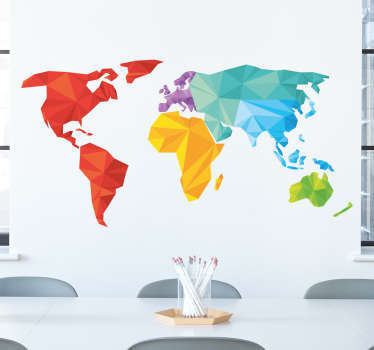 World map stickers - Incredible,  unique and colourful geometric design of a world map. The geometric wall sticker can go in your home or office.