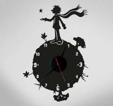 Wall clock sticker for the decoration of children's rooms or for common spaces of the home thought for fans of this tale by Antoine de Saint-Exupéry.