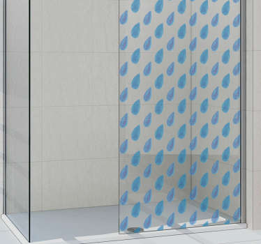 Shower screen sticker with a pattern of rain drops, ideal to decorate the crystals of your shower tray in a unique way. Customizable sizes.