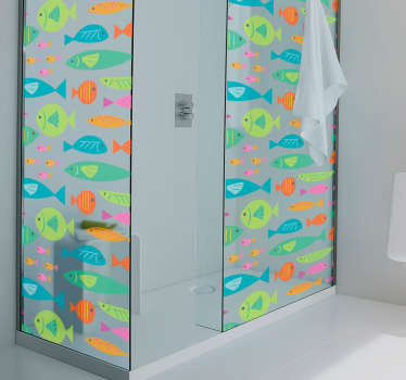 Shower screen sticker with a pattern of multicolored fish ideal to decorate the shower door of your bathroom in a unique and colorful way.