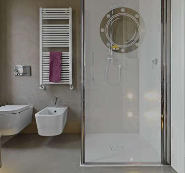 Autocolante de chuveiro olho de boi. Decore o vidro do seu duche com este vinil autocolante de qualidade e por um preço atrativo.