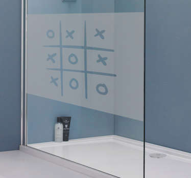 Shower screen sticker with a recreation of the classic game of tic tac toe, ideal for decorating the crystals of your shower door.