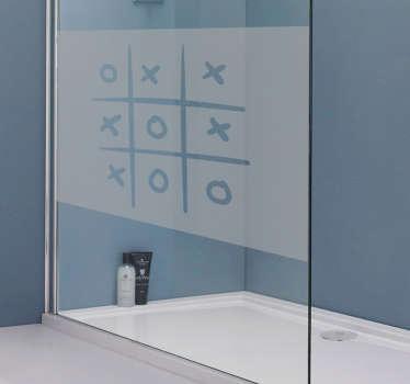 Sticker paroi de douche croix et rond morpion