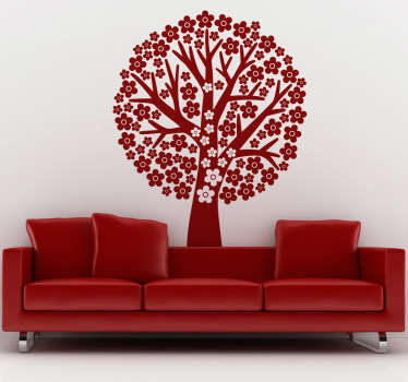 Naklejka na ścianę drzewo z kwiatami