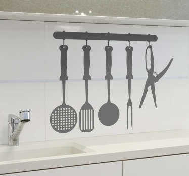 Kitchen Stickers - Kitchen utensils hanging rack design. Ideal for adding a touch of colour to your kitchen. Decals great for styling your home.