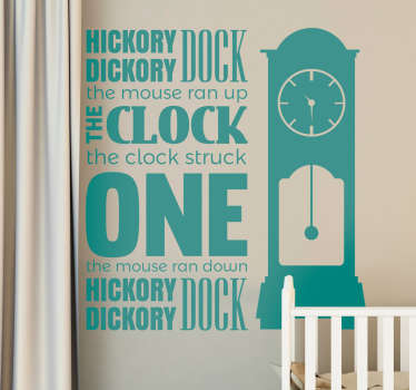 If you're looking for a fun and creative nursery rhyme decorative wall sticker for your children's bedroom, this Hickory Dockory Dock one is ideal!