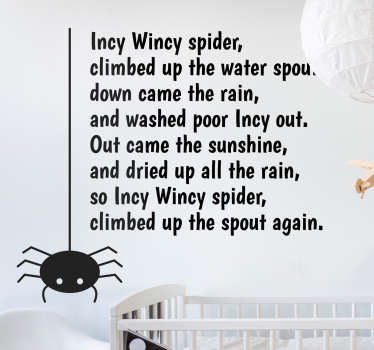 If you're looking for a fun and creative nursery rhyme decorative wall sticker for your children's bedroom, this Incy Wincy Spider one is ideal!