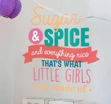If you're looking for a fun and original text sticker to decorate your little girl's bedroom, playroom or nursery, then look no further