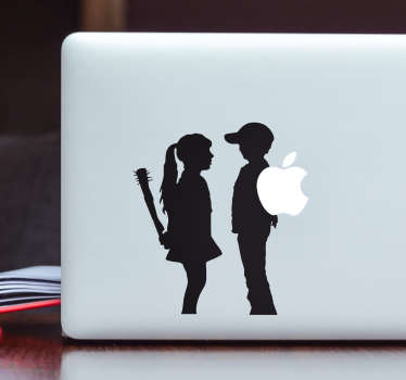 Sticker ordinateur garçon et fille Banksy